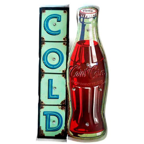 Placa-Led-Retro-Cold-Drink-Coca-Cola----------------------------------------------------------------