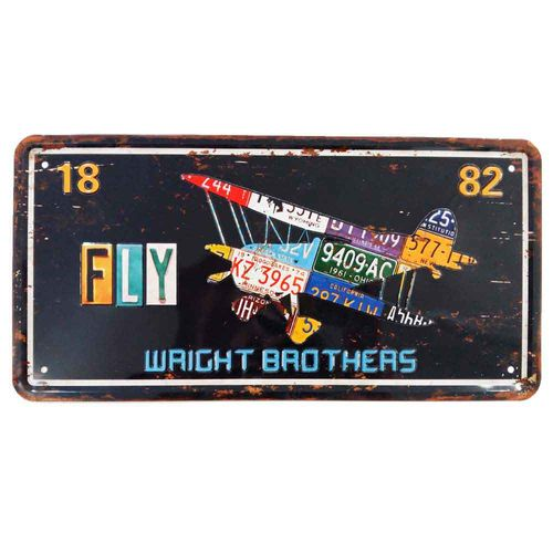 Placa-De-Carro-Decorativa-Em-Alto-Relevo-Fly-Wright-Brothers