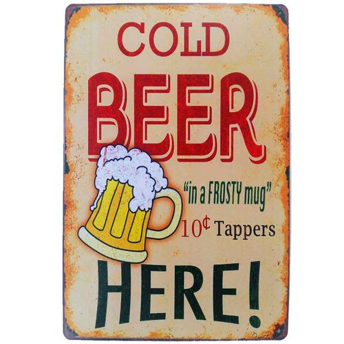 Placa-De-Metal-Decorativa-Cold-Beer