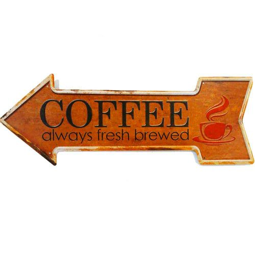 Placa-Seta-De-Metal-Decorativa-Coffee-Laranja
