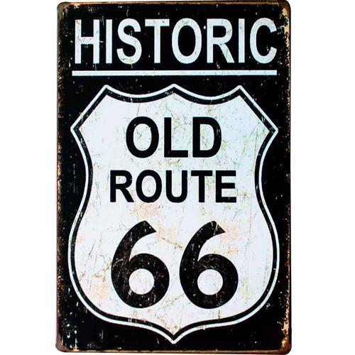 Placa-De-Metal-Decorativa-Route-Us-66-Black