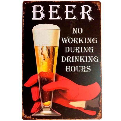 Placa-De-Metal-Decorativa-Beer-No-Working