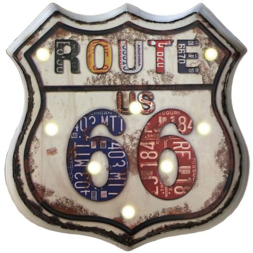Placa-Luminosa-A-Pilha-Retro-Route-Us-66