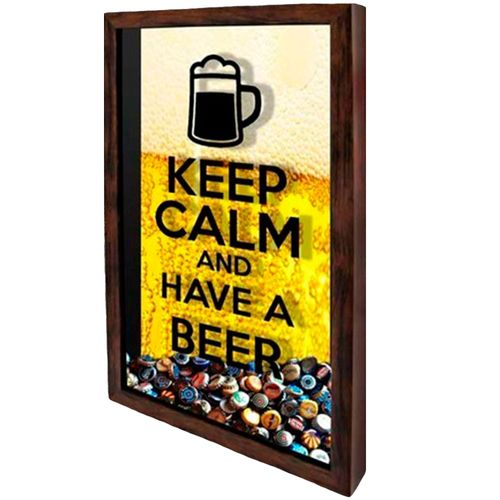 Quadro-Porta-Tampinhas--keep-Calm-And-Have-A-Beer--Amarelo
