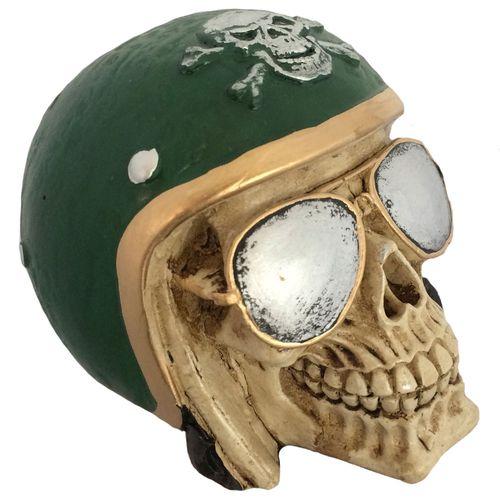 Caveira-Decorativa-Gesso-Motociclista-Verde