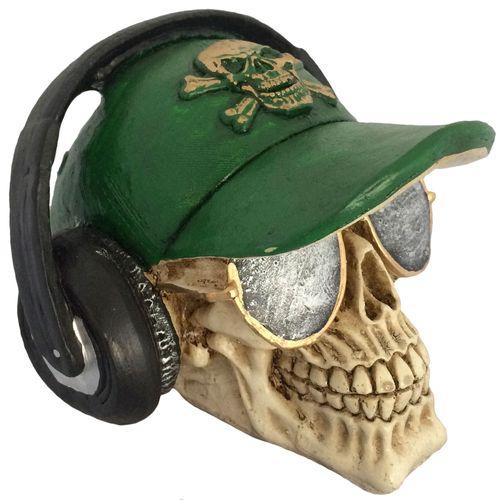 Caveira-Decorativa-Gesso-Bone-E-Fone-De-Ouvido-Verde