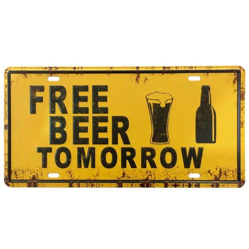 Placa-De-Metal-Decorativa-Free-Beer-Tomorrow