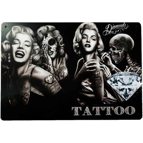 Placa-Decorativa-Mdf-Marilyn-Monroe-Tattoo