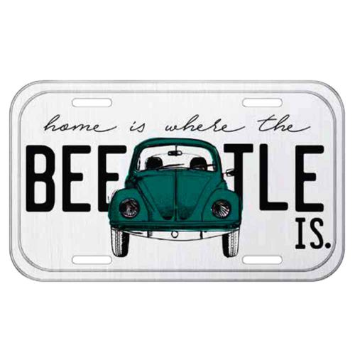 Placa-De-Carro-Metal-Volkswagen-Fusca-Home-Is-Here-Branca