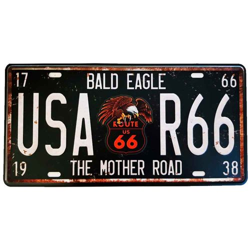 Placa-De-Carro-Decorativa-Em-Alto-Relevo-The-Mother-Road-Preta---Unica