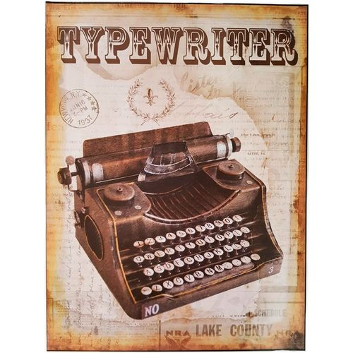Placa-De-Metal-Vintage-Tipewriter