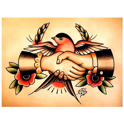 PLACA-DECORATIVA-PARA-BARBEARIAS-QUYEN-DIHN--SWALLOW-HANDSHAKE--------------------------------------