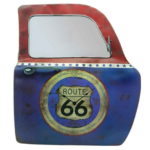 Porta-de-Carro-decorativa-Route-66-com-Relogio------------------------------------------------------