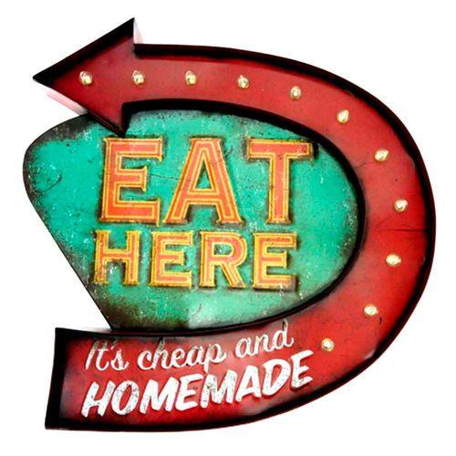 Placa-Led-Retro-Eat-Here----------------------------------------------------------------------------