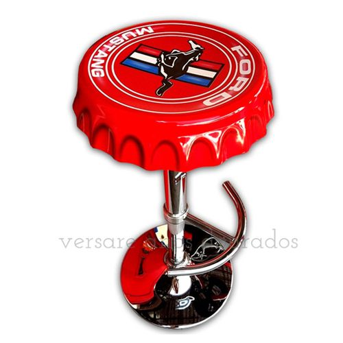 Banqueta-Giratoria-Tampa-De-Garrafa-Ford-Mustang-Vermelho