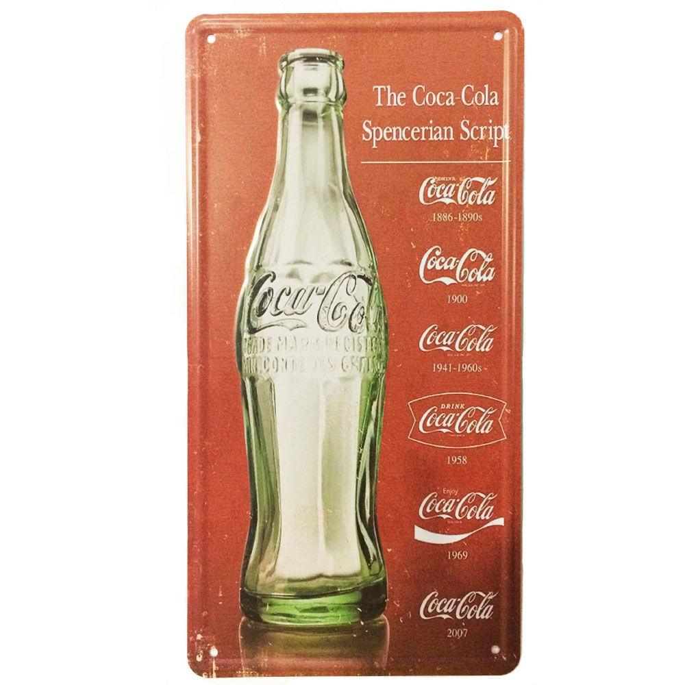 Placa-Carro-Decorativa-De-Metal-Coca-Cola-Logo-Evolution