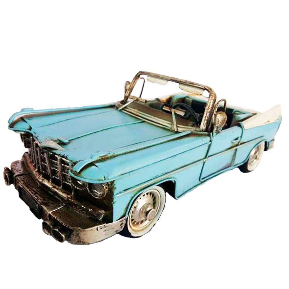 Miniatura-Decorativa-Carro-Em-Metal-Conversivel-Azul-Retro