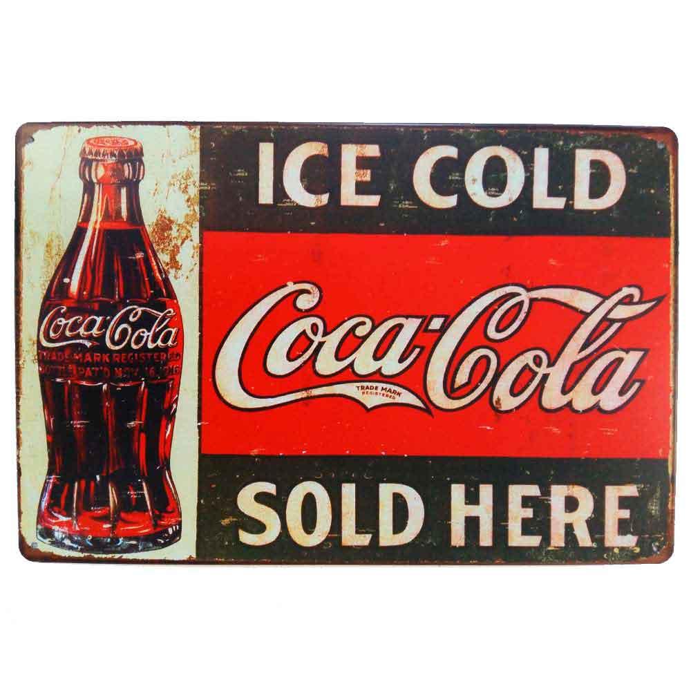 Placa-De-Metal-Decorativa-Coca-Cola-Sold-Here-Vintage