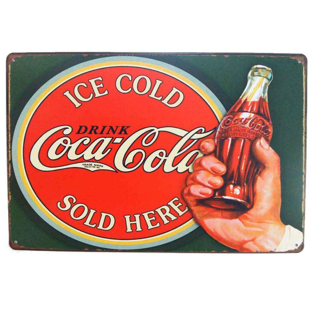 Placa-De-Metal-Decorativa-Coca-Cola-Ice-Cold-Vintage