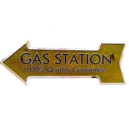 Placa-Seta-De-Metal-Decorativa-Gas-Station