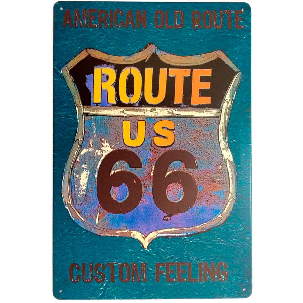 Placa-De-Metal-Decorativa-Route-Us-66-Blue