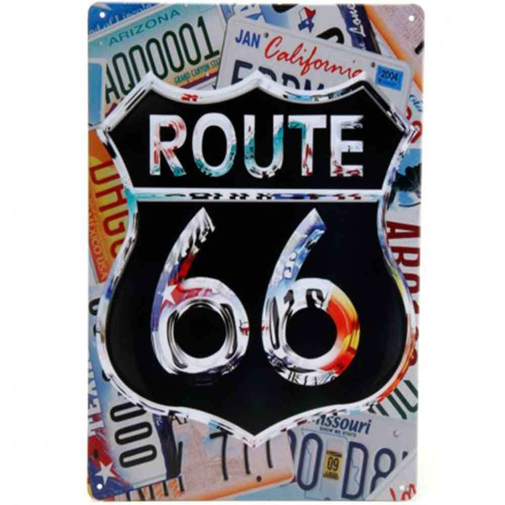 Placa-De-Metal-Decorativa-Route-Us-66-Color