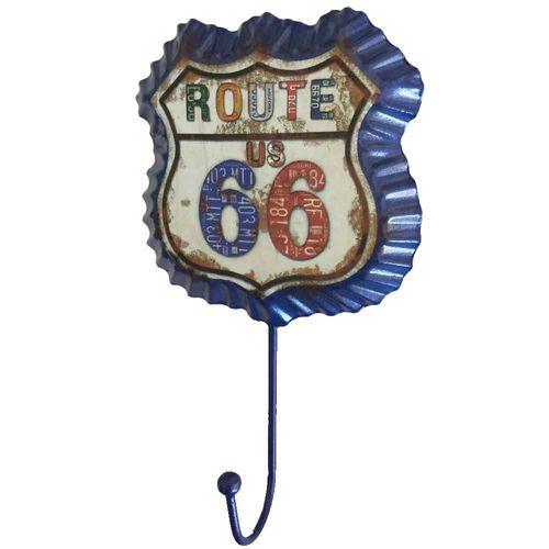 Gancho-De-Parede-Rota-66-Vintage-Azul