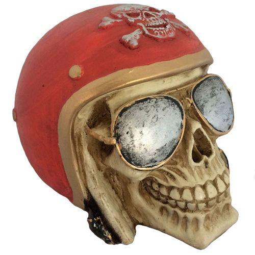 Caveira-Decorativa-Gesso-Motociclista-Vermelho f50fcfe317