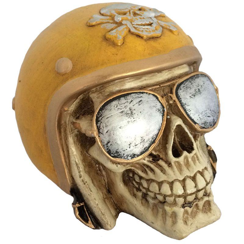 Caveira-Decorativa-Gesso-Motociclista-Amarelo 7c7168e60e