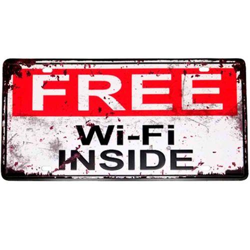 Placa-De-Metal-Decorativa-Free-Wi-fi-Inside