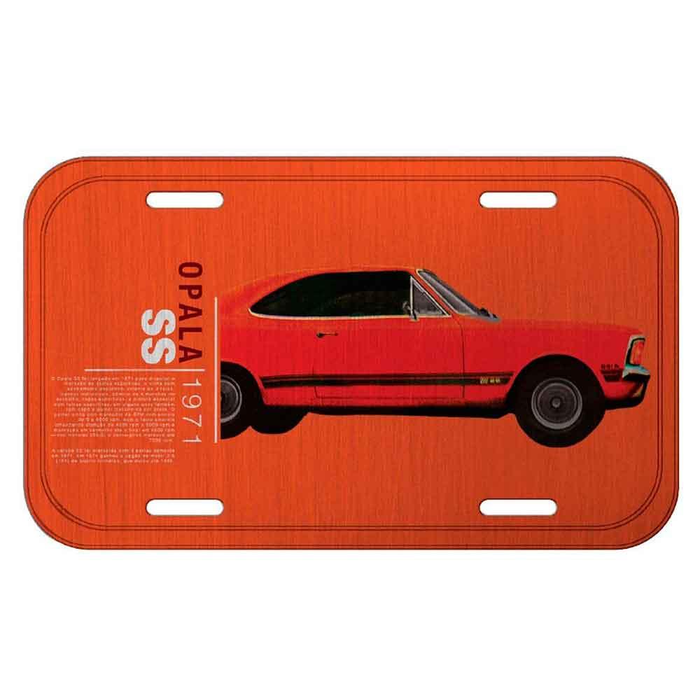 Placa-De-Carro-Metal-Gm-Opala-Ss-1971-Laranja