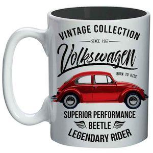 Mini-Caneca-De-Porcelana-Volkswagen-Fusca-Vintage-Branca-135ml