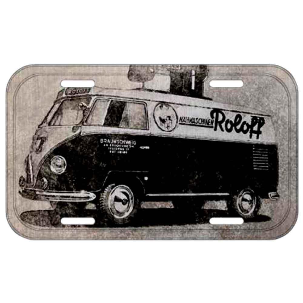Placa-De-Carro-Metal-Volkswagen-Kombi-Roloff-Preta