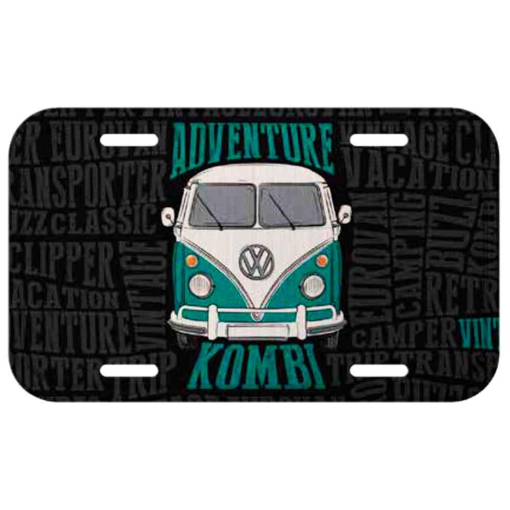 Placa-De-Carro-Metal-Volkswagen-Kombi-Adventure-Preta