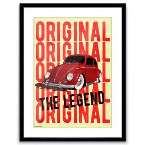 Quadro-Poster-Vidro-E-Madeira-Volkswagen-Fusca-Amarelo
