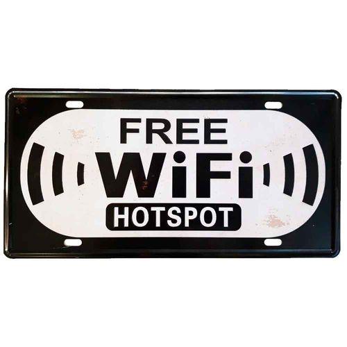 Placa-De-Carro-Decorativa-Em-Alto-Relevo-Free-Wifi-Preta---Unica