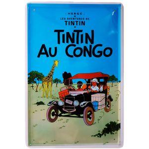Placa-De-Metal-Da-Serie-Tintin---Au-Congo