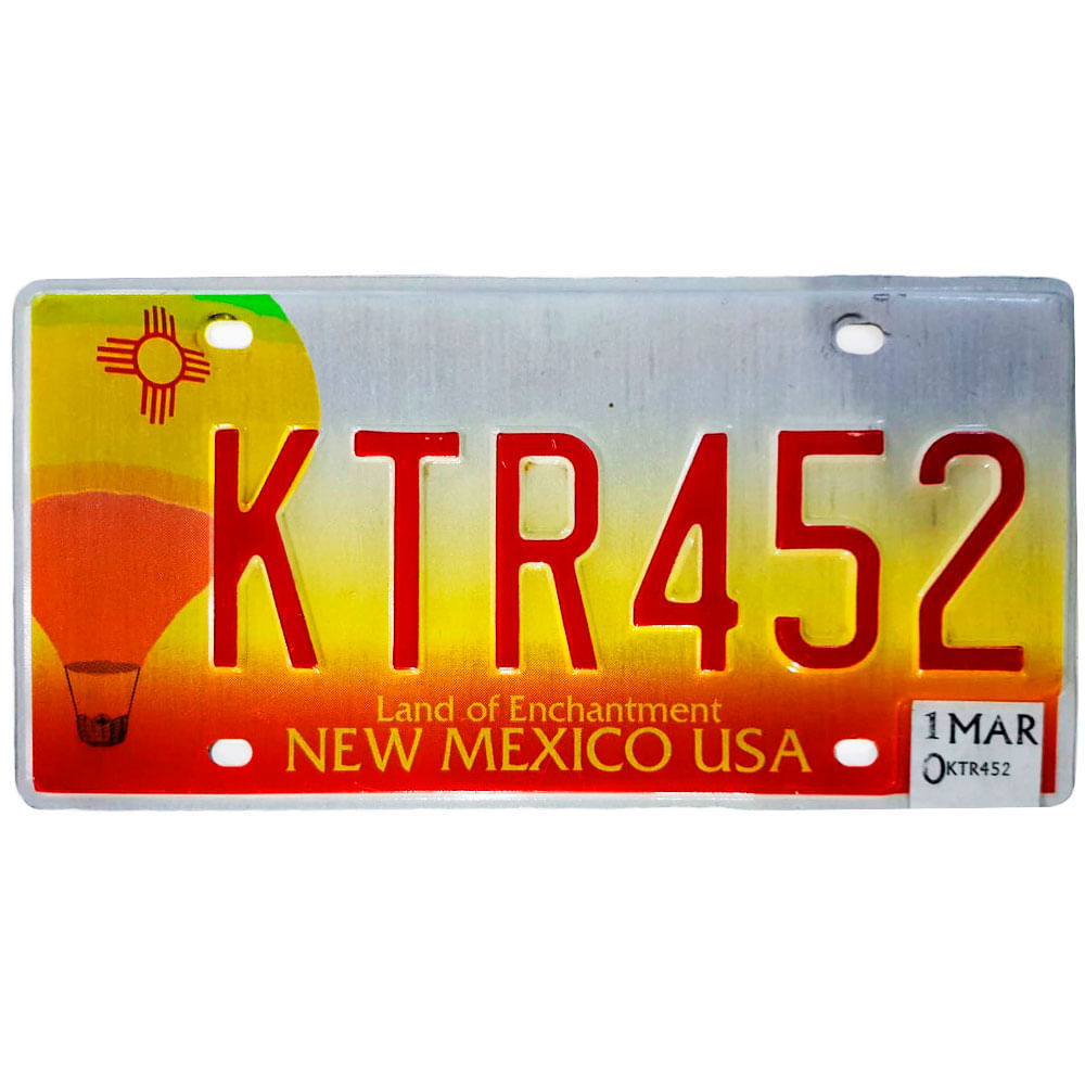 Placa-De-Carro-De-Metal-Importada-Ktr452-New-Mexico