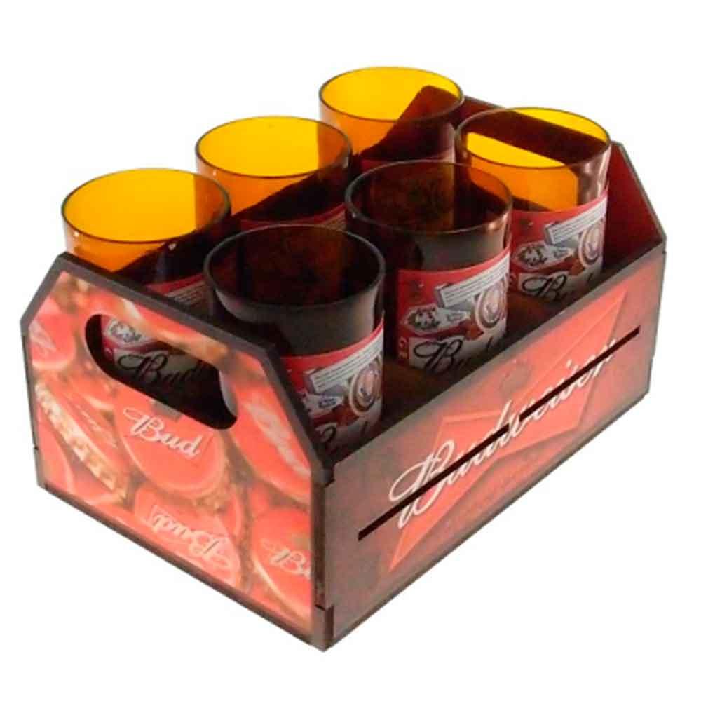 Engradado-Com-6-Copos-De-Vidro-Budweiser-Retro
