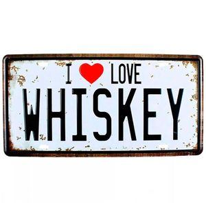 Placa-De-Metal-Decorativa-I-Love-Whisky