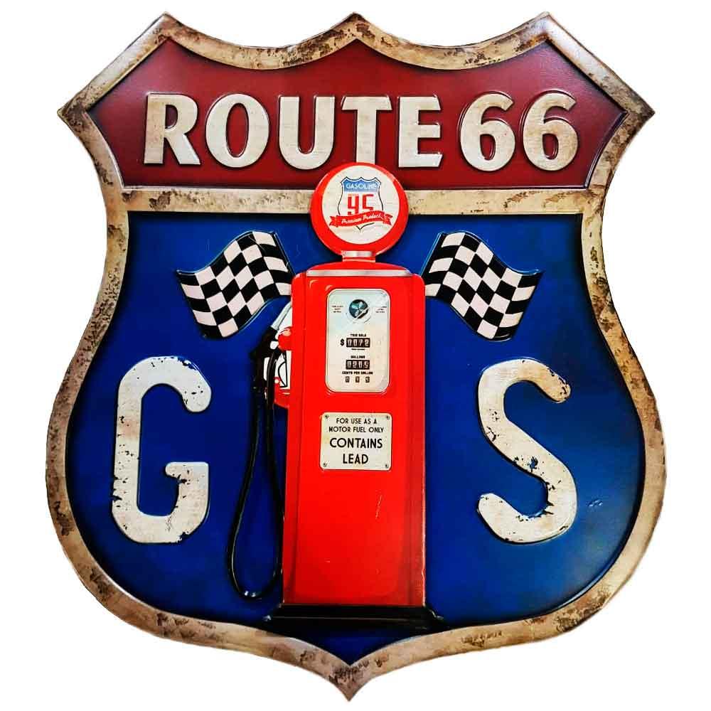 placa-de-metal-gas-route-66