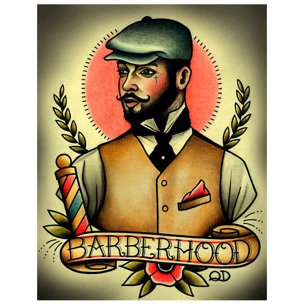 PLACA-DECORATIVA-PARA-BARBEARIAS-QUYEN-DIHN--BARBERHOOD---------------------------------------------