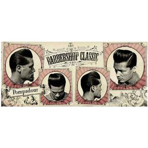 PLACA-DECORATIVA-PARA-BARBEARIAS-HAIR-STYLE-SIGNATURE-HAIRCUTS--POMPADOUR---------------------------