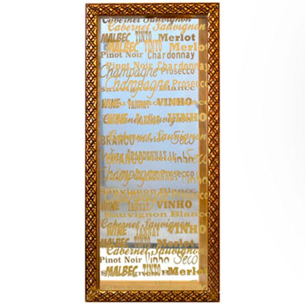 Quadro-Porta-Rolhas-De-Vinho-Espelho-Dourado