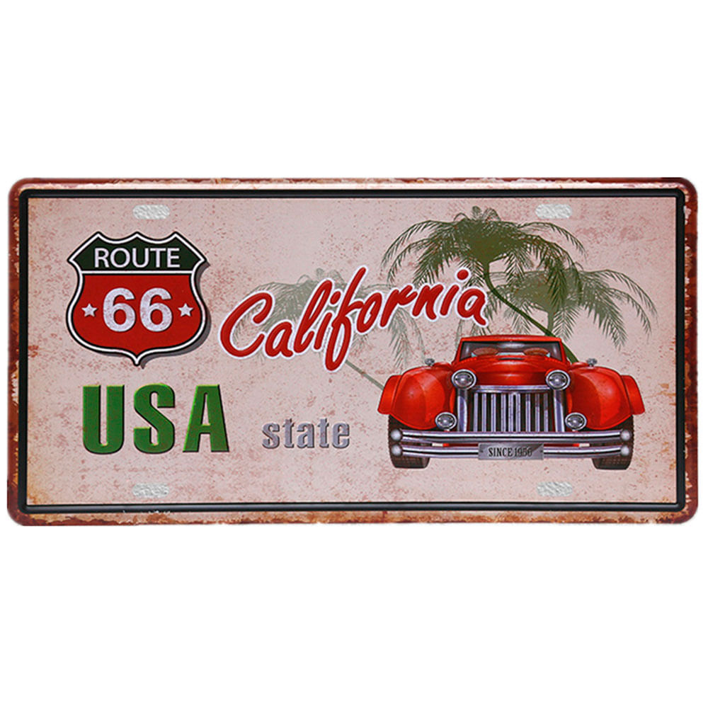 Placa-Carro-Decorativa-De-Metal-Route-66-California