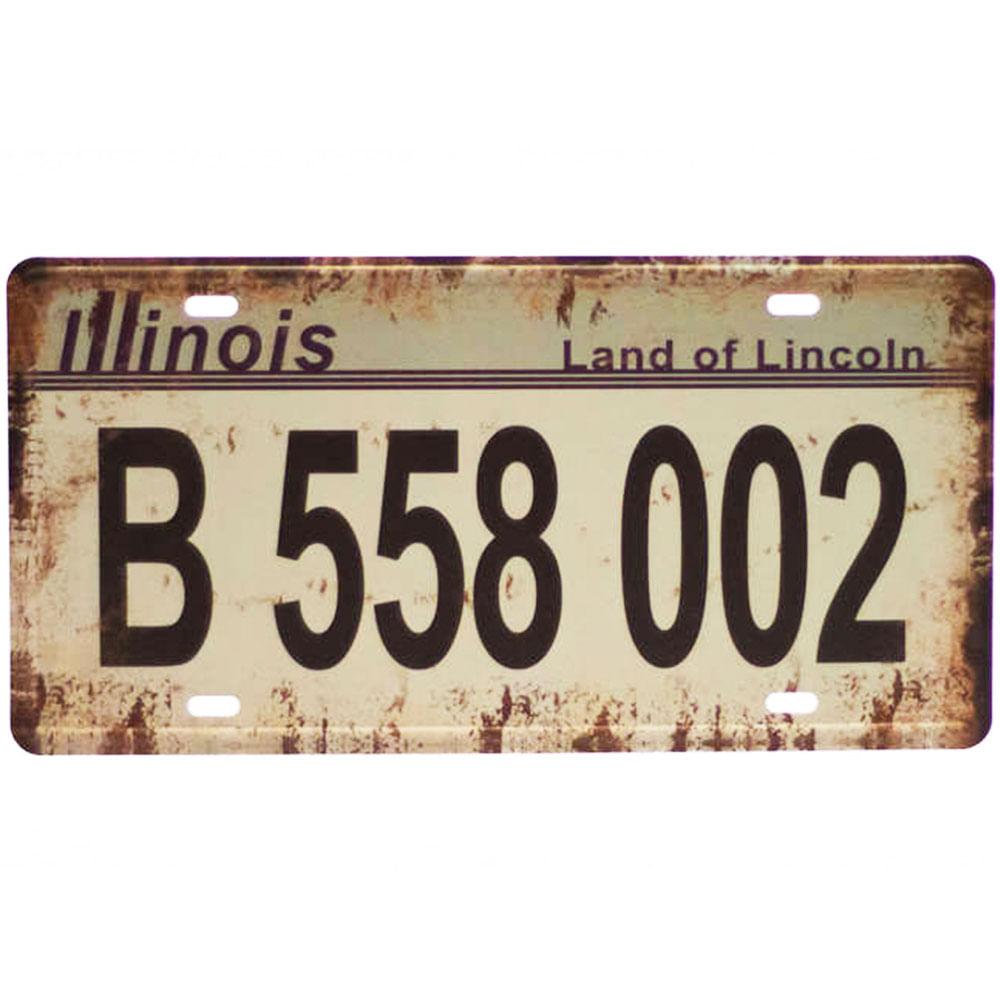 Placa-Carro-Decorativa-De-Metal-Land-Of-Lincoln