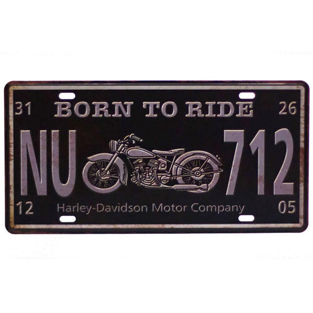 Placa-Carro-Decorativa-De-Metal-Born-To-Ride-Preta---Un