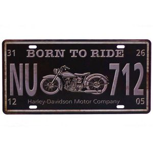 Placa-Carro-Decorativa-De-Metal-Born-To-Ride-Preta---Un