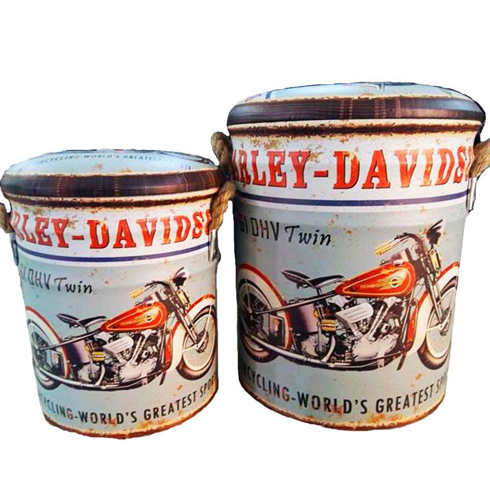 Conjunto-2-Puffs-Latas-Organizadoras-Harley-Davidson