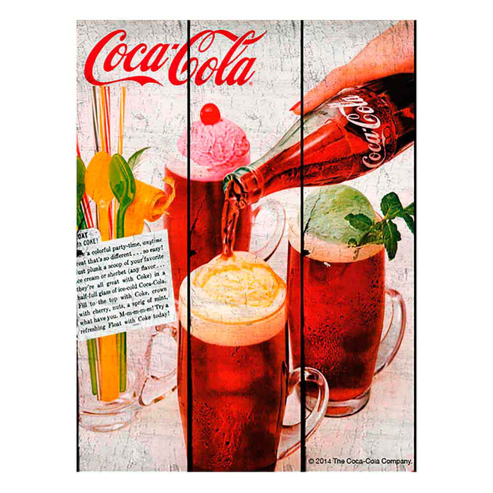 Placa-Madeira-Tropical-Ice-Cream-Coca-Cola-Retro